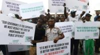 A protest in Lagos this month against economic hardship following the collapse in global oil prices.  By PIUS UTOMI EKPEI (AFP)