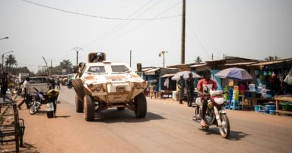 A UN vehicle patrols in Bangui in January 2020.  By FLORENT VERGNES (AFP/File)