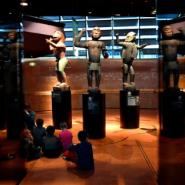 African statues, plundered by French troops in 1892 from the kingdom of Dahomey -- modern-day Benin -- are displayed in Paris' Quai Branly museum.  By GERARD JULIEN (AFP)