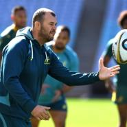 Australian Wallabies' head coach Michael Cheika conducts a training session in Sydney, on August 18, 2017.  By WILLIAM WEST (AFP/File)