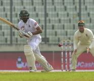 Bangladesh debutant Mohammad Mithun was batting on 34 at the break against Zimbabwe on the fourth day of the second Test.  By MUNIR UZ ZAMAN (AFP)