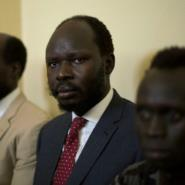 Biar (centre) was detained last July after criticising the failure of the new country's leadership to stop five years of civil war costing an estimated  00,000 lives.  By AKUOT CHOL (AFP/File)