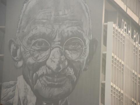 Campaigners in Malawi say Mahatma Gandhi, pictured in a street painting in New Delhi in 2017, used racial slurs in his lifetime.  By DOMINIQUE FAGET (AFP/File)