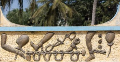 Chained: The Zomachi memorial in Ouidah reminds the world of the curse of slavery.  By Yanick Folly (AFP)