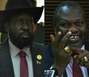 Combination of pictures created on June 19, 2018 shows South Sudan's President Salva Kiir (L) in Addis Ababa on January 29, 2018 and South Sudan's rebel leader Riek Machar in Kampala on January 26, 2016.  By Isaac KASAMANI, Simon MAINA (AFP/File)