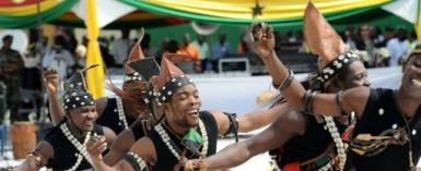 Dancers perform during a ceremony marking Ghana's first oil production in Takoradi on December 15, 2010.  By PIUS UTOMI EKPEI (AFP/File)