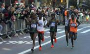 Ethiopians Shura Kitata (L) and Lelisa Desisa (2ndR) run ahead with Kenya's Geoffrey Kamworor(C) and Festus Talam (R) during the 47th running of the New York City Marathon on November 4, 2018 in New York.  By Don Emmert (AFP)