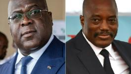 Felix Tshisekedi (L) took over from Joseph Kabila (R) after elections in December 2018. It was DR Congo's first-ever peaceful transition, but failed to avert a power struggle between their supporters.  By Tchandrou Nitanga, TONY KARUMBA (AFP/File)