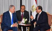 Israeli Prime Minister Benjamin Netanyahu (L) meets with Egyptian President Abdel Fattah al-Sisi in New York to discuss the Middle East peace process, in their first public talks, on September 18, 2017.  By Egyptian Presidency (Egyptian Presidency/AFP)