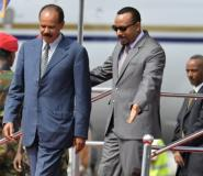 Issaias was welcomed by Abiy on his arrival for the historic visit.  By MICHAEL TEWELDE (AFP/File)