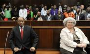 Jacob Zuma and a representative of the French defence firm Thales, seen here in April, are facing charges of corruption linked to a 1990s arms deal.  By Felix Dlangamandla (POOL/AFP/File)