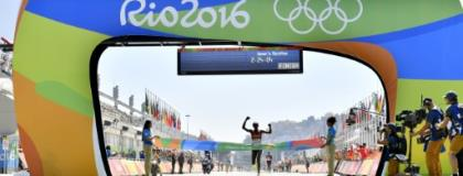Jemima Jelagat Sumgong winning Olympic gold in Rio.  By FABRICE COFFRINI (AFP/File)