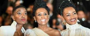 Kenyan actress Samantha Mugatsia, director Wanuri Kahiu, and actress Sheila Munyiva at the 71st edition of the Cannes Film Festival in southern France..  By Anne-Christine POUJOULAT (AFP/File)