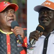 Kenyan President Uhuru Kenyatta, left, and opposition leader Raila Odinga have a family rivalry going back decades.  By TONY KARUMBA, SIMON MAINA (AFP)