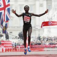 Kenya's Mary Keitany wins the London Marathon with an unofficial time of 2hrs 17min 01sec.  By Adrian DENNIS (AFP)