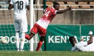 Kenya's striker Michael Olunga, pictured September 2018, had the best chance to put Kenya ahead in the 19th minute when he latched on to an Erick Johanna pass.  By Yasuyoshi CHIBA (AFP/File)
