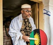 Leader of the Indigenous People of Biafra movement, Nnamdi Kanu -- the current main pro-independence groups want a referendum on self-determination.  By MARCO LONGARI (AFP/File)