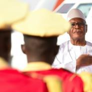 Malian President Ibrahim Boubacar Keita arrives at the Ouagadougou airport on March 1, 2019.  By ISSOUF SANOGO (AFP/File)