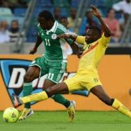 Nigeria's midfielder Victor Moses (L) during the African Cup of Nations match with Mali February 6, 2013 in Durban.  By Francisco Leong (AFP/File)