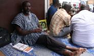 Nicodeme Ayao Habia, pictured on September 29, had been staging a hunger strike in front of the Ghanaian embassy in Lome.  By Matteo FRASCHINI KOFFI (AFP/File)