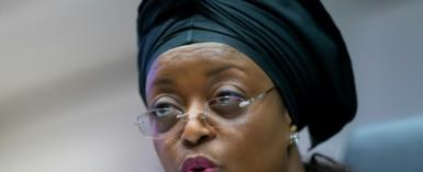 Nigerian former oil minister Diezani Alison-Madueke -- seen here at an OPEC meeting in 2014 -- is being probed in Britain for alleged corruption.  By JOE KLAMAR (AFP)