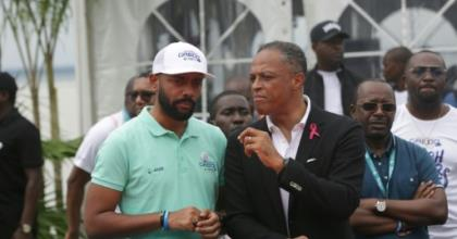 Noureddin Bongo Valentin (L), the eldest son of Gabonese President Ali Bongo Ondimb, was appointed coordinator of presidential affairs, raising opposition criticism of turning the country into a monarchy.  By STEVE JORDAN (AFP)