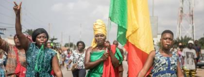 Opposition protesters in Benin's biggest city Cotonou, where they chanted slogans denouncing President Patrice Talon.  By Yanick Folly (AFP)