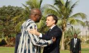 President Emmanuel Macron is on a three-day trip to boost France's standing in West Africa, which began with talks in Burkina Faso with President Roch Marc Christian Kabore.  By ludovic MARIN (POOL/AFP)