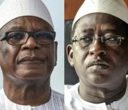 President Ibrahim Boubacar Keita (L) won a landslide victory against opposition leader Soumaila Cisse (R), according to official results.  By Sia KAMBOU, Issouf SANOGO (AFP/File)