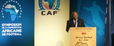 President of the African Football Confederation Ahmad Ahmad, pictured in July 2017, led a meeting of African football officials that determined Kenya was to lose the right to host the 2018 African Nations Championship over concerns about venues and the political situation.  By STRINGER (AFP/File)
