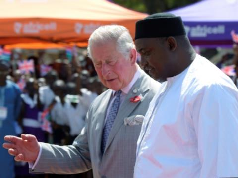 Prince Charles's arrival in the Gambia was the first royal visit since the 2017 ousting of President Yahya Jammeh who withdrew from the Commonwealth and threatened to change the country's official language from English.  By SEYLLOU (POOL/AFP)