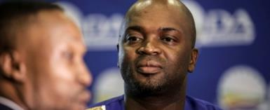 Solly Msimanga, 37, has been mayor of Tshwane -- or Pretoria and surrounding districts -- since the opposition Democratic Alliance party won local elections in 2016.  By GULSHAN KHAN (AFP/File)