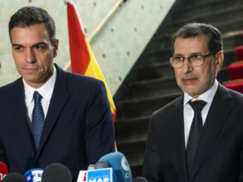 Spanish Prime Minister Pedro Sanchez (L) visits his Moroccan counterpart Saad Eddine el Othmani in Rabat on November 19, 2018.  By FADEL SENNA (AFP)