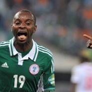 Nigeria's Sunday Mba celebrates after scoring on February 10, 2013 at Soccer City stadium.  By Issouf Sanogo (AFP)