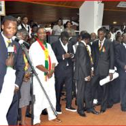 Black stars players in parliament yesterday