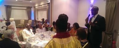 L-R Mr Richard And Cllr Camilla Bath, Mr And Mrs KB Asante, Mrs And Rev Edward Sanniez, Nana Asante, Mrs And Dr Leroy Logan, Dame Betty Asafu Adjaye (Back To Camera)