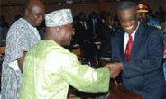 President Mills in a handshake with Mr Osei Kyei-Mensah Bonsu, the Minority Leader.