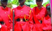The colour party of the T I Ahmadiyya Girls Senior High School Army Cadet Corps.