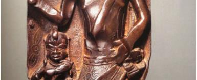 Panel depicting an armed chief, Benin, Nigeria, now in private collection in France.