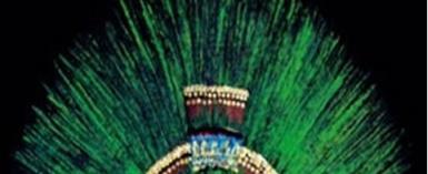 Penacho de Moctezuma, the Quetzal-feather crown of Montezuma, the last Aztec Emperor, in the Völkerkundemuseum, Vienna. Austria.