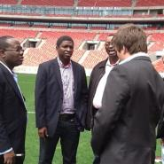 Kwesi Nyantakyi and Maxwell Konadu inspecting the Nelson Mandela Bay Stadium