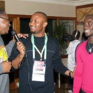 Yaw Ampofo Ankrah (middle) interviewing some football stars at a recent event