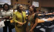 Picture by R. Harry Reynolds shows Ambassador Martha Pobee,(middle) Ghana's Permanent Representative to the United Nations congratulating Ms Gbedemah after her re-election.