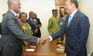 Vice President Amissah-Arthur and Executive Director of UN AIDS, Michel Sidibé, exchanging pleasantries.