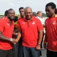 Vice President John Dramani Mahama and some players of the Black stars